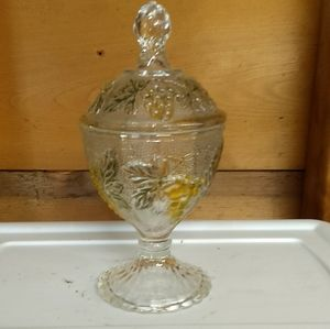 Pedestal Candy Dish Raised Grapes Green Yellow Lid